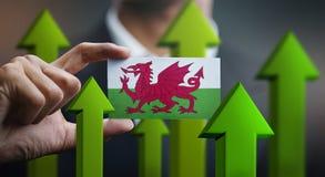 Il concetto della crescita di nazione, si inverdisce sulle frecce - l'uomo d'affari Holding Car immagine stock