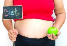 Il concetto della dieta per le donne del grasso di perdita di peso Immagini Stock Libere da Diritti