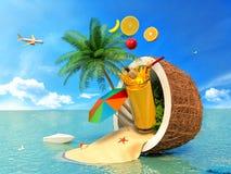 Il concetto della vacanza Noce di cocco, ombrello di spiaggia e succo di frutta