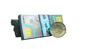 il concetto delle fatture virtuali 3d della banconota del bitcoin e di soldi del monet ren Fotografia Stock Libera da Diritti