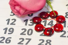 Il concetto delle feste con un calendario Fotografie Stock