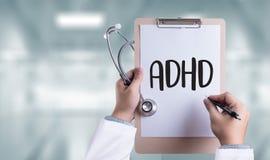IL CONCETTO di ADHD ha stampato l'iperattività d di deficit di attenzione di diagnosi Fotografia Stock Libera da Diritti