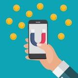 Il concetto di affari del telefono cellulare della tenuta della mano con il magnete attira i bitcoins Illustrazione di vettore Fotografie Stock Libere da Diritti