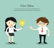 Il concetto di affari, donna di affari dà la sua idea all'uomo d'affari Illustrazione di vettore Fotografia Stock