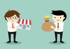 Il concetto di affari, due uomini d'affari scambia i soldi e compera Immagine Stock