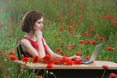 Il concetto di affari ha sparato di bella giovane donna che si siede ad uno scrittorio facendo uso di un computer in un campo Immagine Stock Libera da Diritti