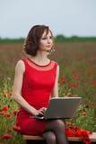 Il concetto di affari ha sparato di bella giovane donna che si siede ad uno scrittorio facendo uso di un computer in un campo Fotografie Stock Libere da Diritti
