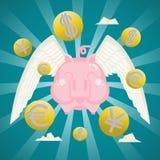 Il concetto di affari, porcellino salvadanaio sorridente con valuta delle monete traversa Fotografia Stock