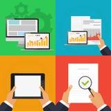 Il concetto di analizzare i documenti del computer di ricerca Illustrazione di Stock