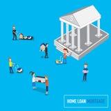 Il concetto di attività bancarie di ipoteca o di prestito immobiliare con la micro gente porta il Th Immagini Stock Libere da Diritti