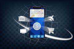 Il concetto di attività bancarie mobili Progettazione alla moda realistica Fotografie Stock