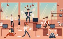Il concetto di caos dell'ufficio nell'affare con il capo, gli uomini d'affari e gli impiegati prima del termine royalty illustrazione gratis