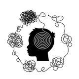 Il concetto di caos e disordine dei pensieri La soluzione all'uscita dalle situazioni e dai problemi difficili di vita royalty illustrazione gratis
