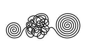 Il concetto di caos e disordine dei pensieri La soluzione all'uscita dalle situazioni e dai problemi difficili di vita Vettore pi illustrazione vettoriale