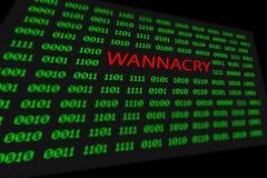 Il concetto di codice wannacry e binario sullo schermo da tavolino fotografia stock libera da diritti