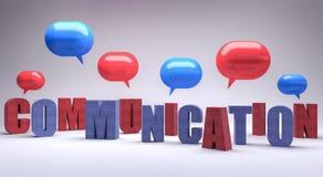 Il concetto di comunicazione con le bolle 3d del blu e rosse rende l'illustrazione 3d Fotografia Stock Libera da Diritti