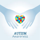 Il concetto di consapevolezza di autismo con cuore del puzzle collega Immagini Stock