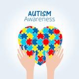 Il concetto di consapevolezza di autismo con cuore del puzzle collega Fotografia Stock
