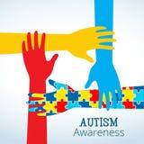 Il concetto di consapevolezza di autismo con la mano del puzzle collega Immagini Stock