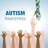 Il concetto di consapevolezza di autismo con la mano del puzzle collega Fotografie Stock Libere da Diritti