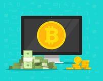 Il concetto di estrazione mineraria di Bitcoin e lo scambio di biglietto vector l'illustrazione, fumetto piano del pc del desktop Fotografie Stock