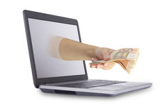 Il concetto di guadagna i soldi online Fotografia Stock Libera da Diritti