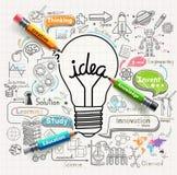 Il concetto di idee della lampadina scarabocchia le icone messe