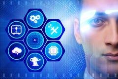 Il concetto di intelligenza artificiale con l'uomo d'affari Immagini Stock Libere da Diritti