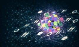 Il concetto di Internet e la rete con il cubo digitale dipendono la d Immagini Stock Libere da Diritti