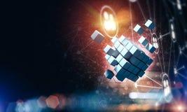 Il concetto di Internet e la rete con il cubo digitale dipendono la d Immagine Stock Libera da Diritti