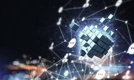 Il concetto di Internet e la rete con il cubo digitale dipendono la d Immagine Stock