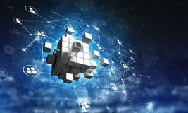 Il concetto di Internet e la rete con il cubo digitale dipendono il fondo scuro Immagine Stock Libera da Diritti