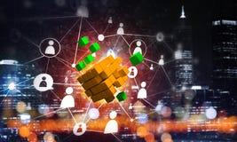 Il concetto di Internet e la rete con il cubo digitale dipendono il fondo scuro Fotografia Stock Libera da Diritti