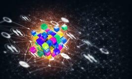 Il concetto di Internet e la rete con il cubo digitale dipendono il fondo scuro Immagine Stock