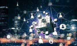 Il concetto di Internet e la rete con il cubo digitale dipendono la d Fotografia Stock Libera da Diritti