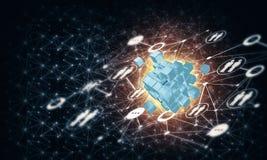 Il concetto di Internet e la rete con il cubo digitale dipendono la d Immagini Stock