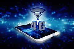 il concetto di Internet 4g, compressa con 4g firma dentro il fondo digitale Immagine Stock