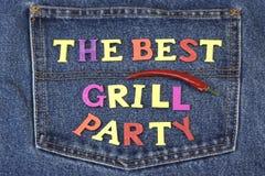 Il concetto di Inventation del partito del barbecue o della griglia dell'estate sui jeans appoggia Fotografie Stock