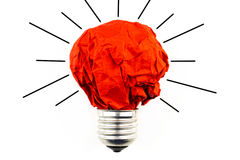Il concetto di ispirazione ha sgualcito la metafora di carta della lampadina per la merce Fotografia Stock Libera da Diritti
