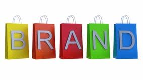 Il concetto di marketing del marchio con i sacchetti della spesa 3d rende l'illustrazione 3d Immagine Stock
