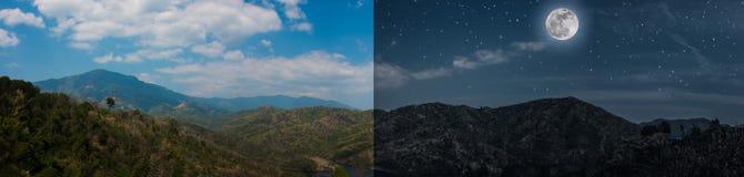Il concetto di notte e del giorno dell'estate abbellisce l'immagine panoramica delle montagne Immagine Stock