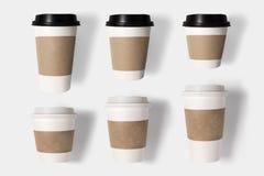 Il concetto di progetto della tazza di caffè del modello ha messo su fondo bianco spola Immagine Stock Libera da Diritti