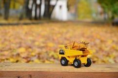 Il concetto di raccolta stagionale delle foglie cadute autunno è descritto sotto forma di camion di giallo del giocattolo caricat Fotografia Stock