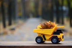 Il concetto di raccolta stagionale delle foglie cadute autunno è descritto sotto forma di camion di giallo del giocattolo caricat Immagine Stock