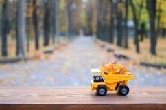 Il concetto di raccolta stagionale delle foglie cadute autunno è descritto sotto forma di camion di giallo del giocattolo caricat Fotografia Stock Libera da Diritti