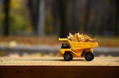 Il concetto di raccolta stagionale delle foglie cadute autunno è descritto sotto forma di camion di giallo del giocattolo caricat Immagini Stock Libere da Diritti