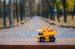 Il concetto di raccolta stagionale delle foglie cadute autunno è descritto sotto forma di camion di giallo del giocattolo caricat Immagine Stock Libera da Diritti