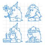 Il concetto di scarabocchio del carattere del maiale ha messo 1 Immagine Stock