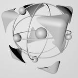 Il concetto di sicurezza di energia nucleare, fondo in bianco e nero e bianco rappresentazione 3d Fondo Fotografia Stock Libera da Diritti