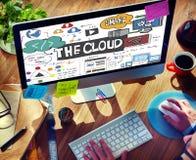 Il concetto di stoccaggio della parte di informazioni di connettività della nuvola Fotografia Stock